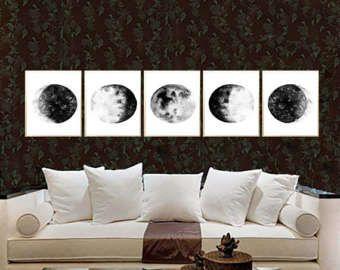Mond Phasen Aquarell Kunstdruck schwarz Mond Phasen Set von 5 Mond Phasen Poster Mond Malerei Mond Wand Kunst Schwarz Mondphasen Art Dekor