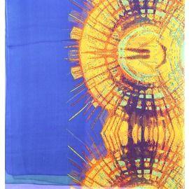 Палантин шелковый полупрозрачный синий с зеленым и желтым с анималистическим рисунком C ДЕФЕКТОМ СКИДКА