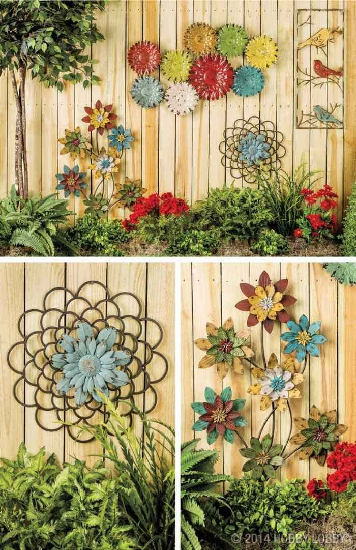 Garten Sichtschutz-Zaun aus Holz im Landhauslook- Blumen-Schmuck
