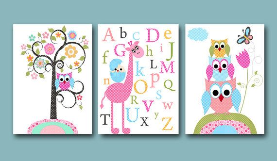 Childrens Art Kids Wall Art Baby Girl Room Decor Baby Girl Nursery kids room kids art print set of 3 Prints owls giraffe alphabet rose pink blue artwork decor kids gift  *** UNFRAMED - THIS PRINT IS ON PAPER OR ON CANVAS *** 936 937 938  To return to my shop, click here: http://www.etsy.com/shop/artbynataera  Set of 3 print in inches . Theres an extra 1/8 in. white border around the print to ease framing.IMPORTANT: This is a print made on matte photo paper that will need to be framed. ● SIZE…