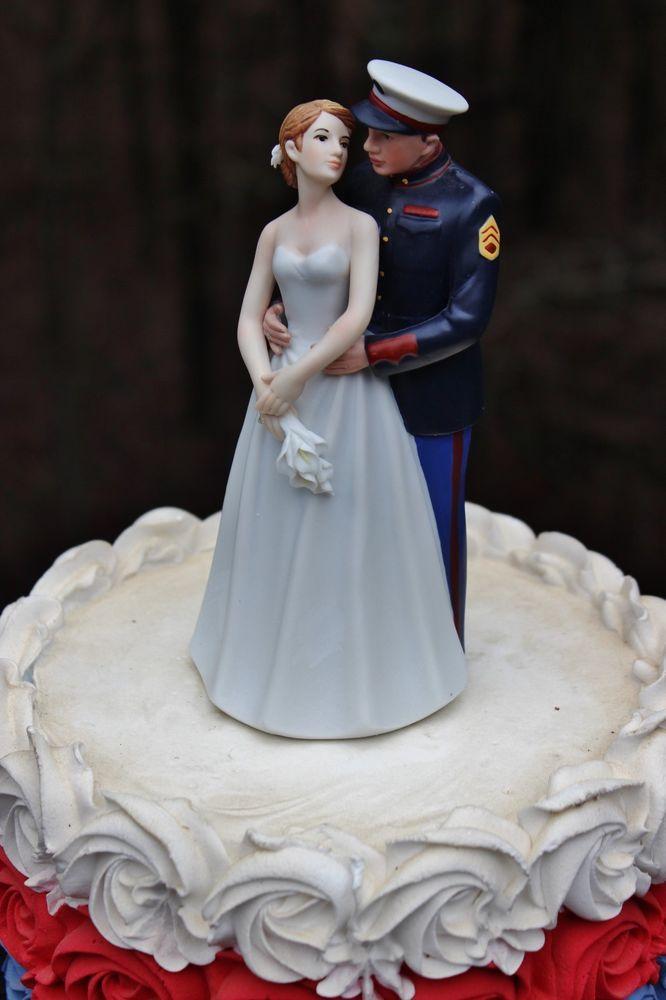 Military Marine Corps USMC wedding cake topper~ur hair /flower colors Classic