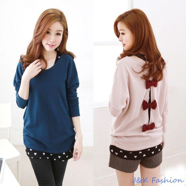 T9634 Women's Twinset Loose Batwing T shirt Back Bow + Heart Print Tank Top J&K  #JKFashion #Twinset #Casual