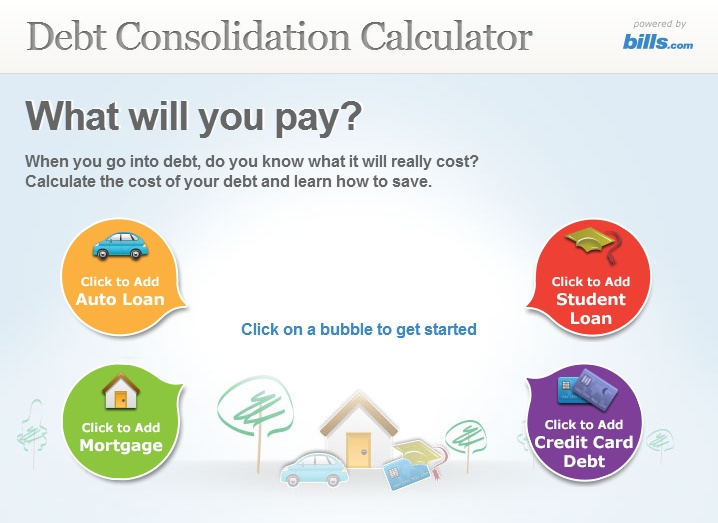 Debt Consolidation Calculator: http://www.bills.com/debt-consolidation-calculator/