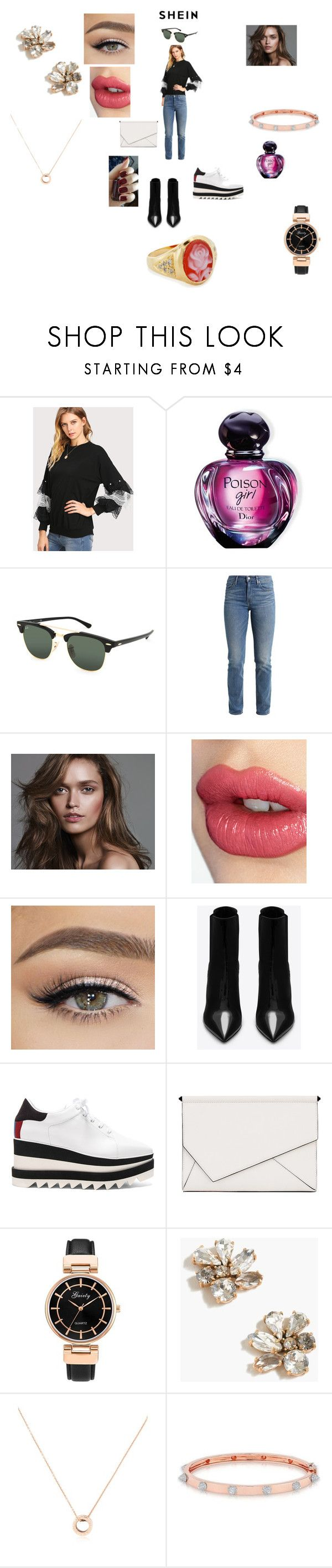 """SHEIN Pearl And Layered Lace Detail Pullover"" by annali1983 ❤ liked on Polyvore featuring Christian Dior, Ray-Ban, Levi's, Charlotte Tilbury, Yves Saint Laurent, STELLA McCARTNEY, Kendall + Kylie, J.Crew, Bulgari and Anne Sisteron"