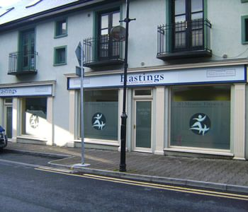 Project: Shop front office signage Client: Hasting Insurance Brokers, Ballina and Westport, Co. Mayo, Ireland.