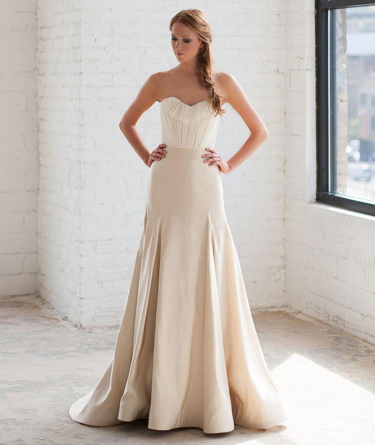 Tara LaTour Fall 2016 white ruffled bodice A-line wedding dress | https://www.theknot.com/content/tara-latour-wedding-dresses-bridal-fashion-week-fall-2016