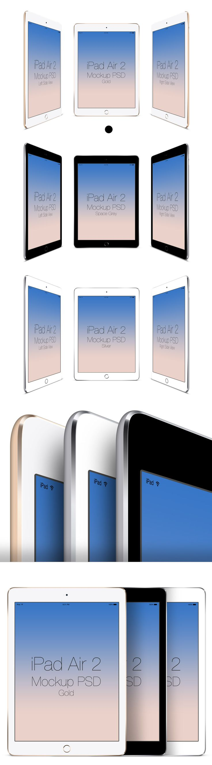 Free iPad Air 2 Mockup | The download contains 3 PSD files with 9 mockups in 3 colors of space gray, gold and silver... (6,11 MB) | graphicsfuel.com