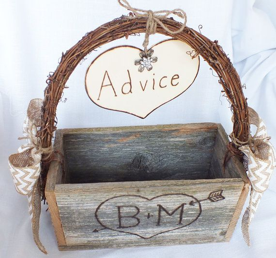 Wedding Advice Box With Chevron Burlap Bows  by ButterBeanVintage, $89.99