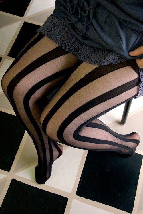 Sheer & Opaque Vertical Stripe Tights - Sheer black and opaque stripes make for show-stopping sexiness.