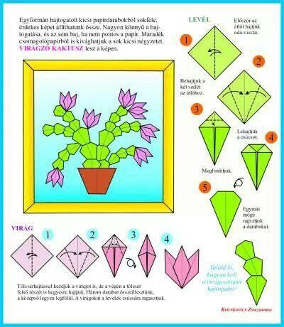Pot of Christmas cactus. Origami tutorial.