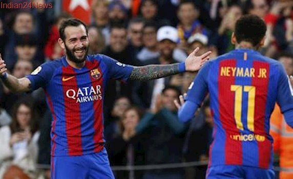 Barcelona's Aleix Vidal to miss rest of season after dislocating ankle