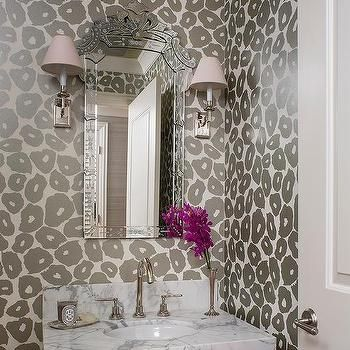 Gray Powder Room with Gray Leopard Print Wallpaper