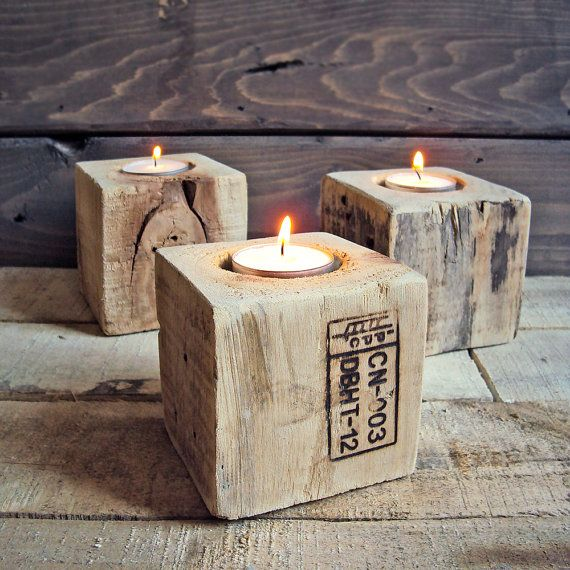 Reclaimed industrial wood tea light holder - set of 3.