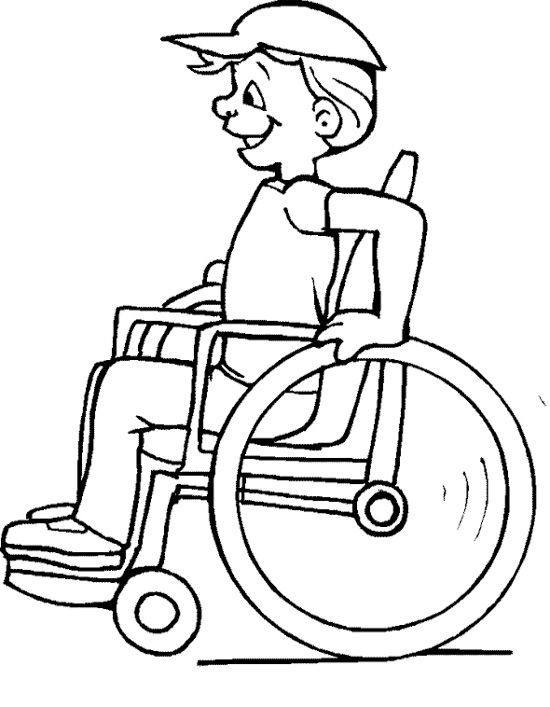 Disabled Children Coloring Page