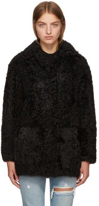Yves Salomon - Meteo Black Shearling Coat