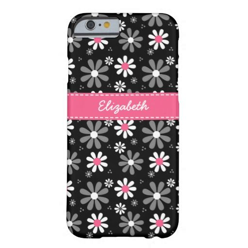 Cute Pink and Black Girly Mod Daisies With Name