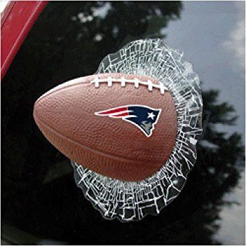 Get a New England Patriots game ball without breaking your window or budget! This actual Football is on a static cling resembling broken glass, attaches securely to any glass surface, easily removable