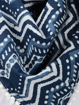 Indigo-White Dabu-Printed Cotton Scarf