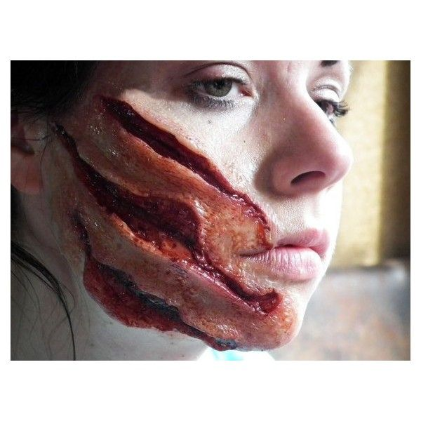 Brand new nasty werewolf attack prosthetic available to purchase today ❤ liked on Polyvore featuring makeup