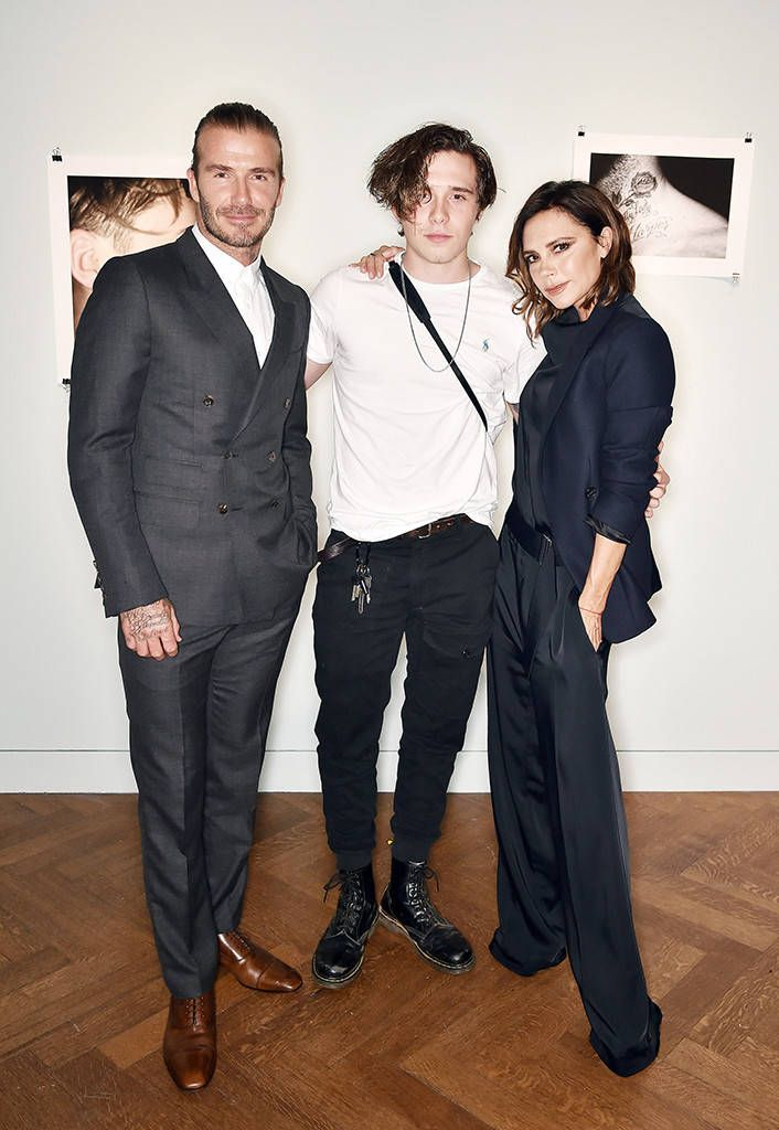 David Beckham, Brooklyn Beckham & Victoria Beckham from The Big Picture: Today's Hot Photos It's a family affair! The famous parents proudly support their oldest son at his 'What I See' exhibition and book launch in London.