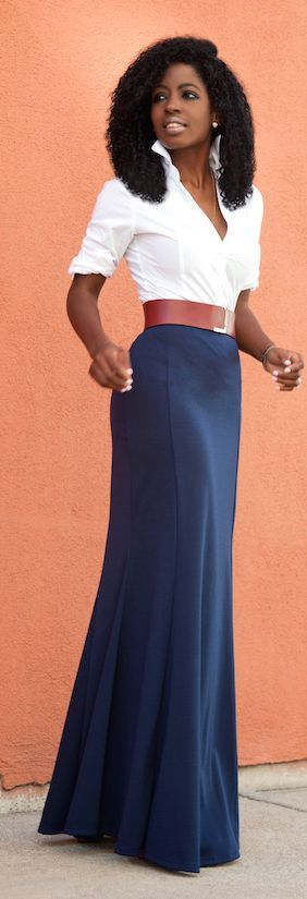 White Shirt Navy Maxi Skirt Fall Inspo by Style Pantry