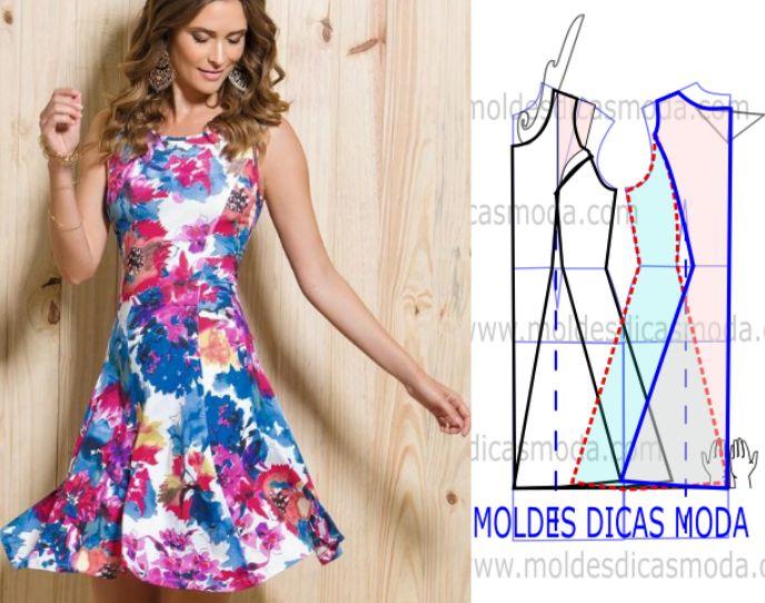 Faça a análise do desenho da transformação do molde de vestido evasé aguarela floral para poder fazer a leitura de forma correta e assim simplificar o...