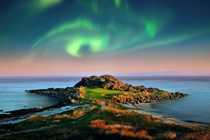Лофотены: Гольф под северным сиянием #Norway #Lofoten #golf