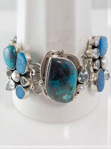 Turquoise and Druzy Bracelet, sterling silver – Summer Indigo