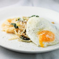 Spaghetti with Ramps and Fried Egg HealthyAperture.com
