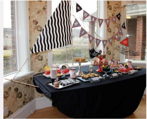 Pirate Birthday Party Ideas | Happy Party Idea  ***Doing; have table cloth, need banner from other pin and sail