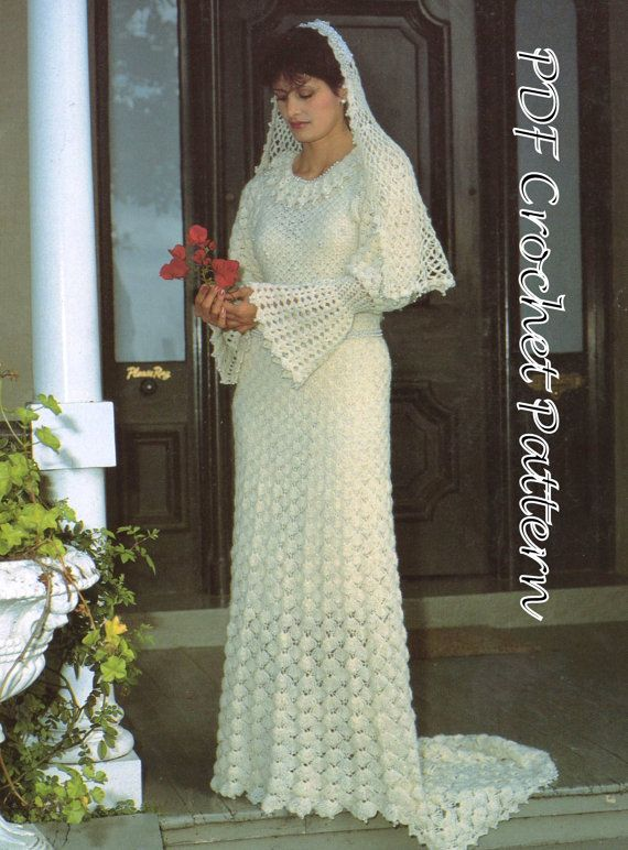 PDF Crochet Pattern Vintage Womens Wedding Dress Stunning And Veil Post FREE