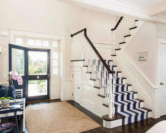 Navy Foyer Rug : Entryway with navy door white and striped stair