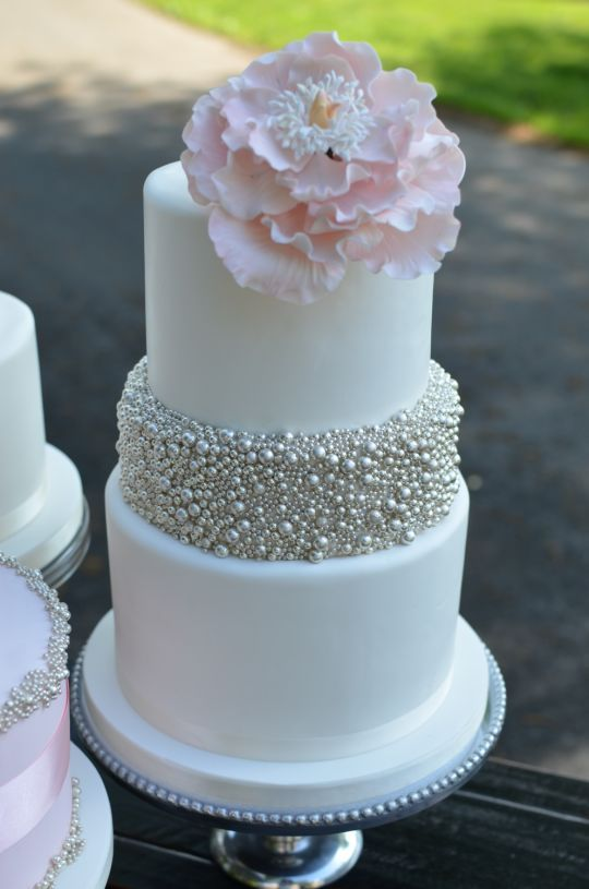 Blush and Silver Cake. I would like the silver to be gold or maybe pearls