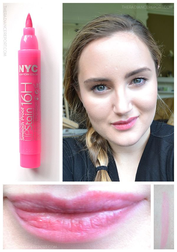 NYC Smooch Proof 16HR Lip Stain review via pinterest.com/radiancereport/ -- #bblogs #LipStain #beautyblogs #NewYorkColor #pinklips
