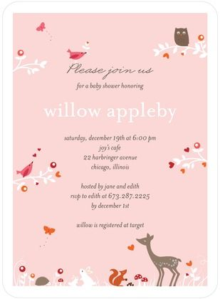 Baby Shower Invitations Woodland Wonder - Front : Tea Rose: Shower Ideas, Petite Alma, Baby Shower Invitations, Tea Roses, Woodland Wonder, Holidays Cards, Teas Rose, Tiny Prints, Baby Shower