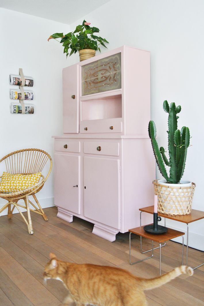 pale pink china cabinet