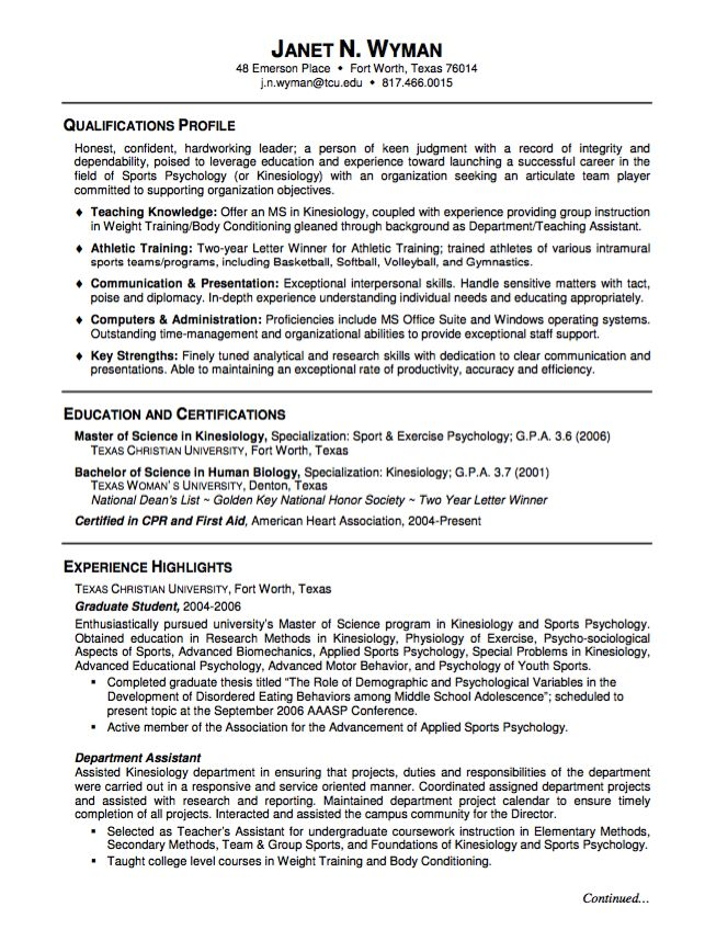 Sample Resume Graduate Student - http\/\/resumesdesign\/sample - exercise psychologist sample resume