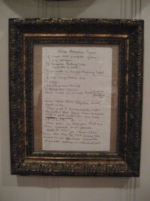 framing old family recipes to display in the kitchen. love it!