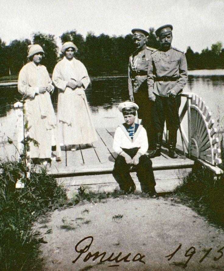 Olga, Tatiana, Alexei, an unidentified man and Tsar Nicholas II in Rospha, Russia