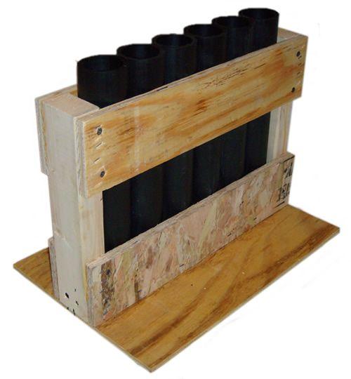 HDPE Firework mortar rack.  6-shot HDPE DR11 mortar tubes