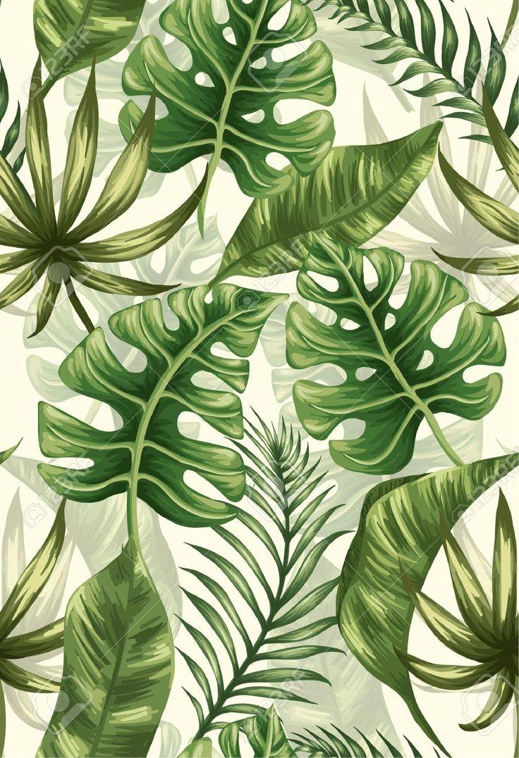 Nahtlose Muster Mit Palmblättern Lizenzfrei Nutzbare Vektorgrafiken, Clip Arts, Illustrationen.   – Blätter
