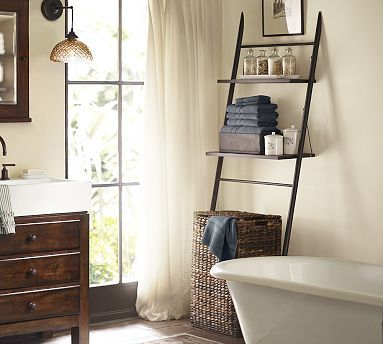 Rustic bathroom etageres and storage on pinterest for Small bathroom etagere