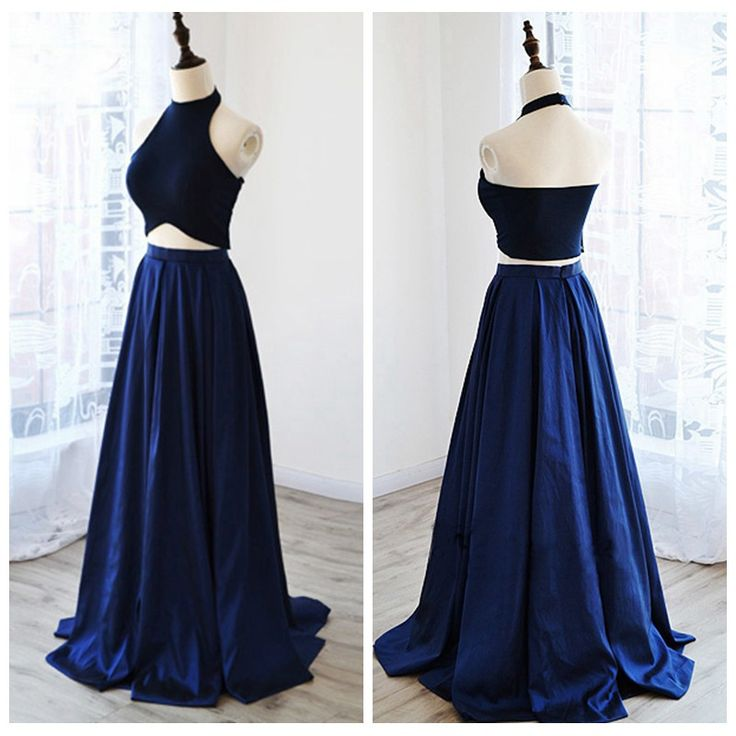 Senior prom dress, evening dress for teens, cute navy blue satin two pieces long dress for prom 2017