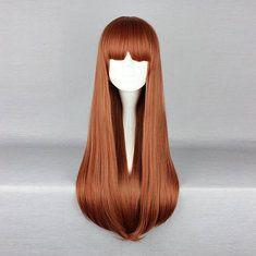 Harajuku luminoso fibra sintetica ad alta temperatura capelli castani lunghi dritto parrucca cosplay del anime del costume