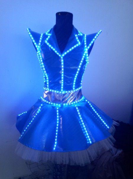 CS0070 Womens Sexy Dancing LED Costume | LED dance costume; Luminous costume; Co2 jet; Smoke machine; Confetti canon; Laser gloves
