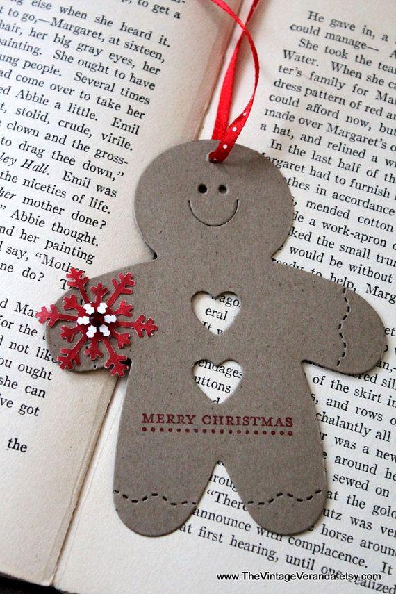 Gingerbread Man Christmas Tags Set of Eight by TheVintageVeranda. , via Etsy.