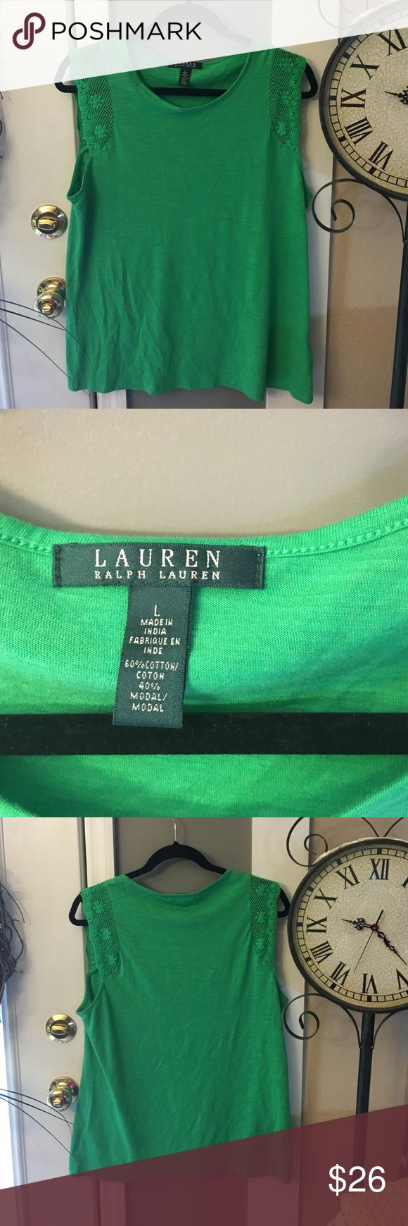 NWOT, Lauren By Ralph Lauren GreenTop,🎉 lowest$$ Brand new without tags, never worn, pic of materials in photos. Cute lace detail on shoulders. Green women's top sleeveless. 😍 Lauren Ralph Lauren Tops Blouses