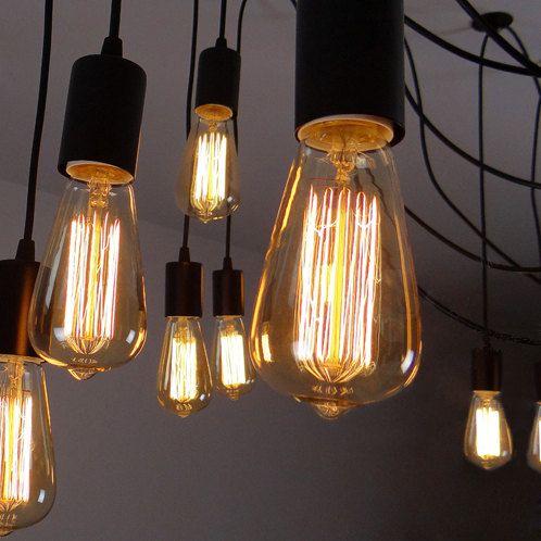 Edison bulb ceiling lamp - hanging lamp - E27 Squirrel Cage Filament light  bulb - DIY set - edison