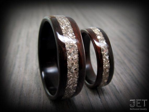 macassar ebony bentwood ring set with german silver glass inlay wedding engagement or anniversary handcrafted steamed durable wood ring