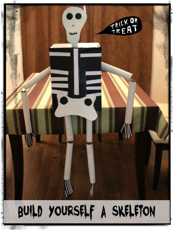 DIY instructions on how to build a skeleton craft with your kids this Halloween